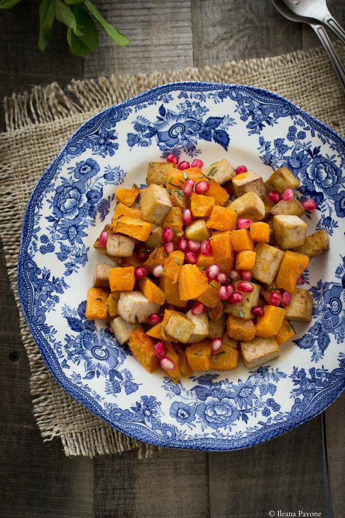 insalata di zucca, melagrana e tofu2