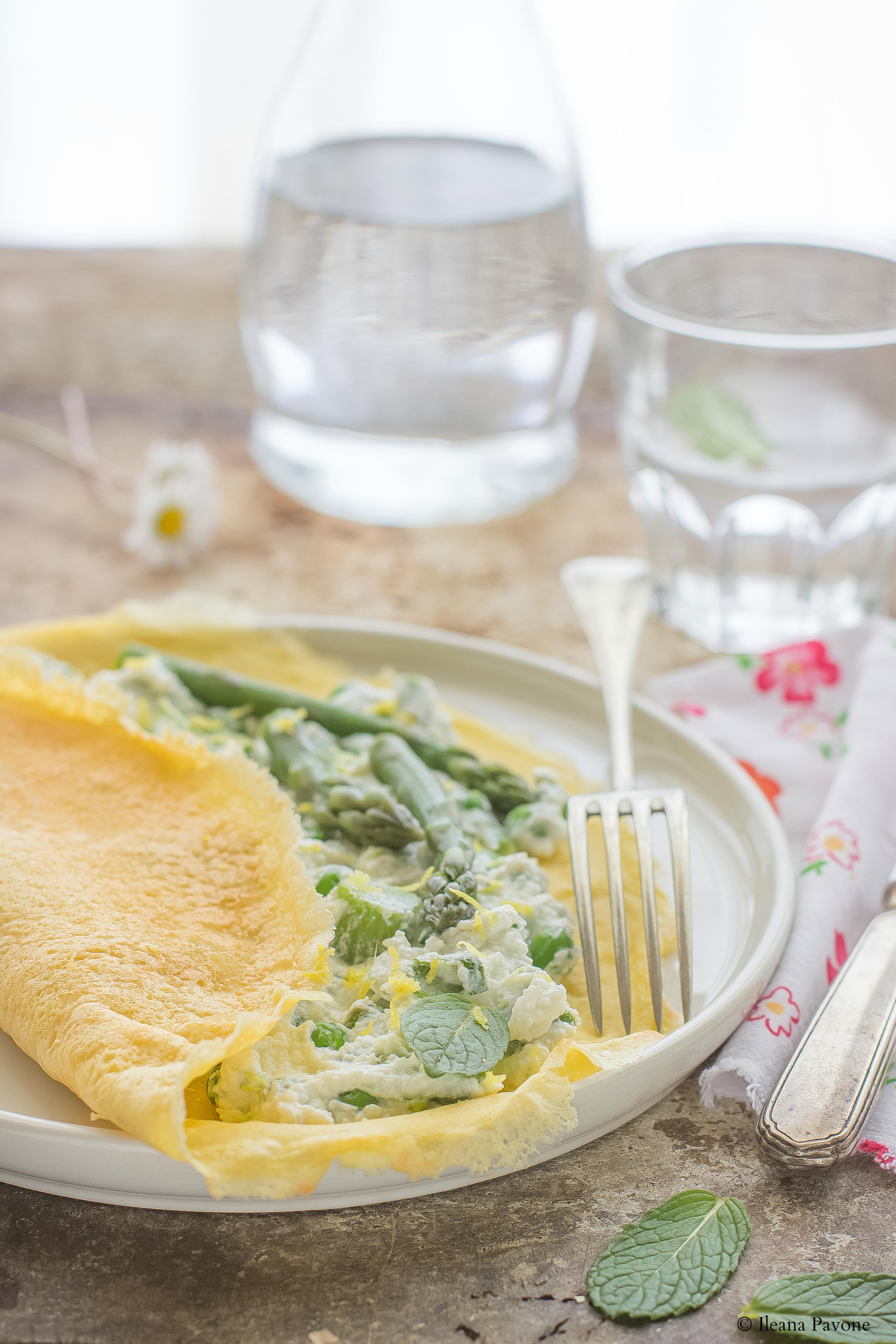 Crespelle di ceci con crema di ricotta e verdure primaverili per Taste & More